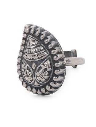 Tribal Silver Adjustable Ring with Paisley Design