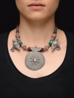 Red-Green Thread Tribal Silver Necklace with Lord Ganesha Motif