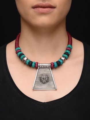 Blue-Red Thread Tribal Silver Necklace with Floral Motif