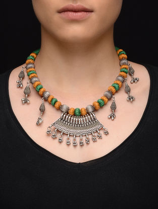 Green-Mustard Thread Tribal Silver Necklace