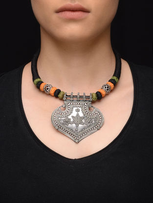 Black-Orange Thread Tribal Silver Necklace with Floral Motif
