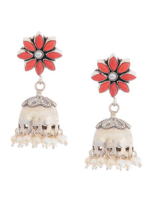 Red silver Jhumkis with Pearls