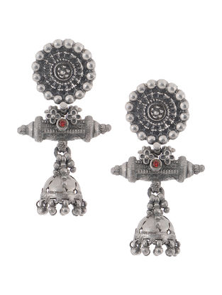 Red Vintage Silver Jhumkis