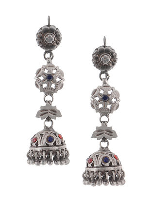 Blue-Red Vintage Silver Jhumkis