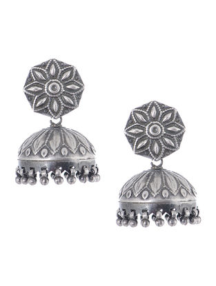 Vintage Silver Jhumkis with Floral Motif