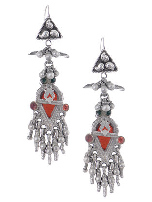 Red-Green Vintage Silver Earrings