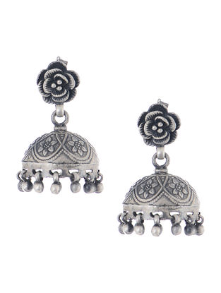 Vintage Silver Jhumkis with Floral Design