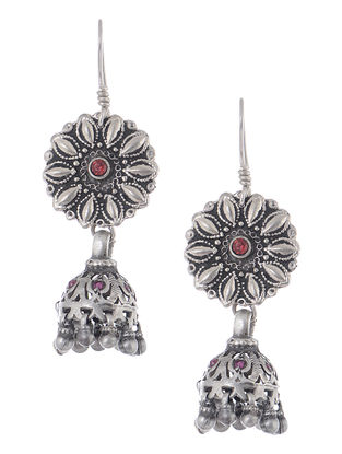 Red-Pink Vintage Silver Jhumkis with Floral Design