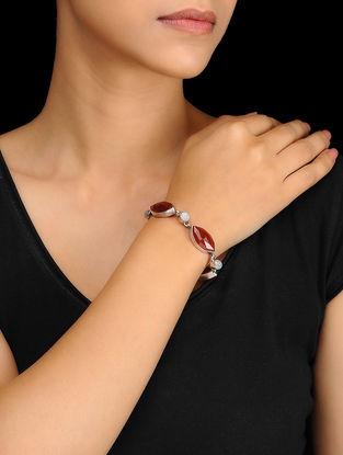 Red-White Silver Bracelet