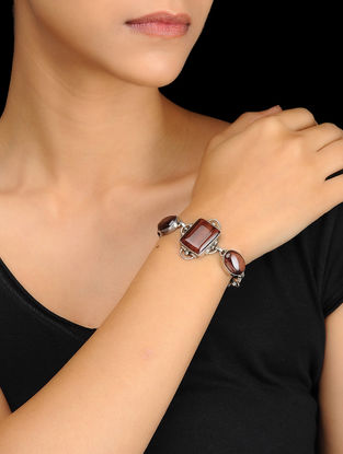 Red Tigers Eye Silver Bracelet