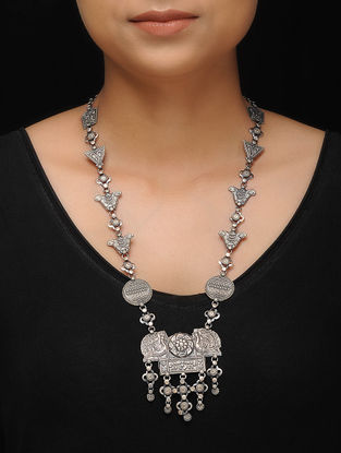 Tribal Silver Necklace with Peacock Motif