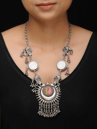 Multicolored Hand-painted Tribal Silver Necklace