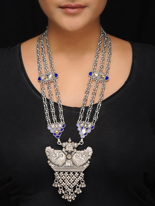 Blue-Yellow Tribal Silver Necklace