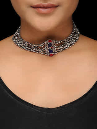 Red-Blue Glass Tribal Silver Necklace