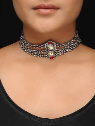 Red-Yellow Glass Tribal Silver Necklace