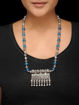 Blue Beaded Tribal Silver Necklace
