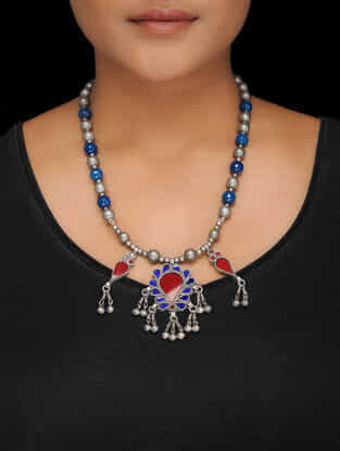 Blue-Red Glass Tribal Silver Necklace