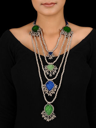 Green-Blue Tribal Silver Necklace