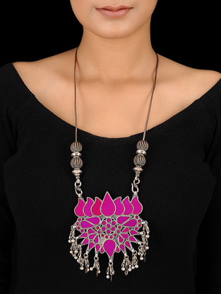Purple Glass Silver Necklace with Lotus Design