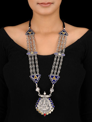 Blue-Yellow Glass Silver Necklace with Deity Motif