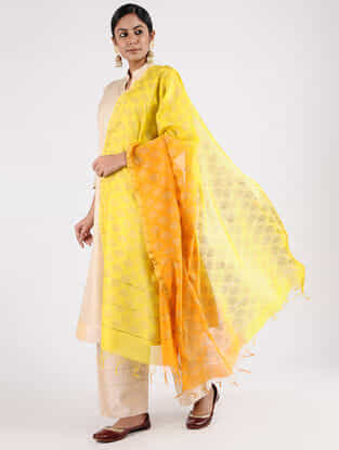 Yellow Block-printed Chanderi Dupatta with Zari Border