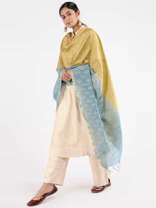 Beige-Blue Block-printed Chanderi Dupatta with Zari Border