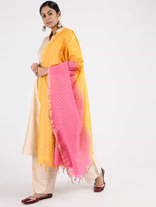 Yellow-Pink Block-printed Chanderi Dupatta with Zari Border