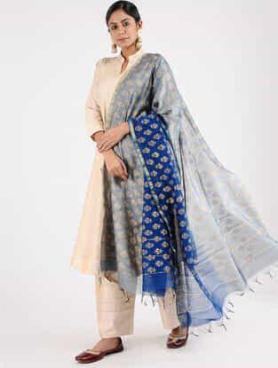 Grey-Blue Block-printed Chanderi Dupatta with Zari Border