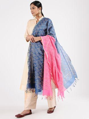 Blue-Pink Block-printed Chanderi Dupatta with Zari Border