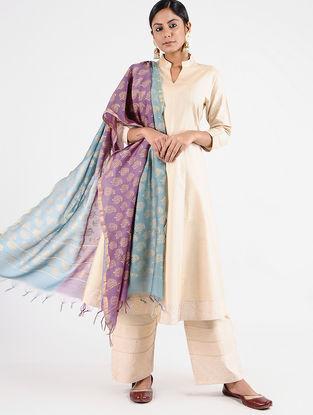 Purple-Blue Block-printed Chanderi Dupatta with Zari Border