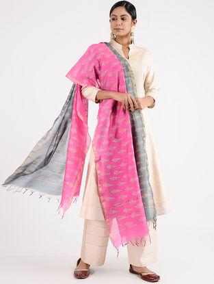 Pink-Grey Block-printed Chanderi Dupatta with Zari Border