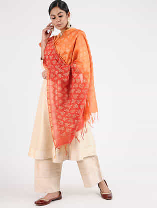Orange-Red Block-printed Chanderi Dupatta with Zari Border