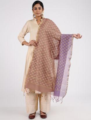 Purple Block-printed Chanderi Dupatta with Zari Border
