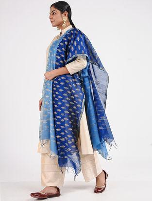 Blue Block-printed Chanderi Dupatta with Zari Border