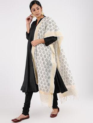 Ivory-Black Block-printed Chanderi Dupatta with Zari Border