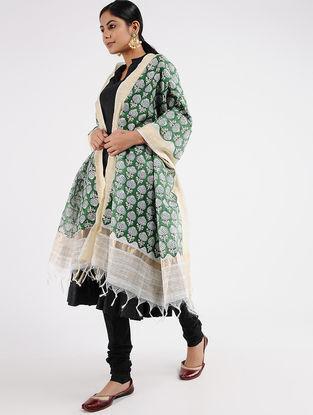 Ivory-Green Block-printed Chanderi Dupatta with Zari Border