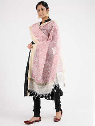 Ivory-Pink Block-printed Chanderi Dupatta with Zari Border