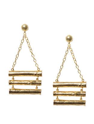 Raft Twig Wood Brass Earrings