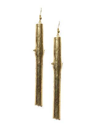 Twig Wood Brass Tassel Earrings