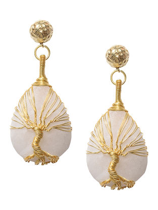 Tree of Life Moonstone and Brass Earrings