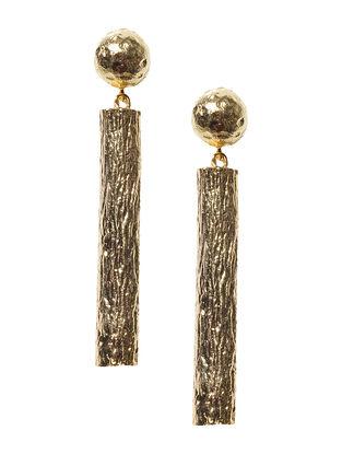 Twig Wood Brass Earrings