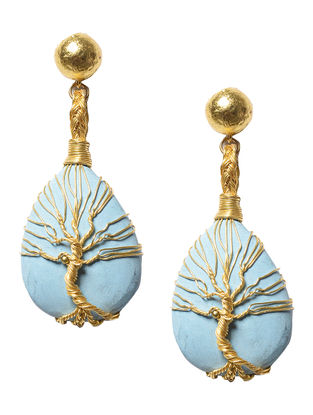 Tree Of Life Turquoise Brass Earrings