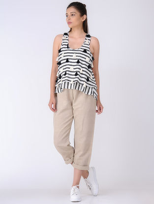 Black-Ivory Block-printed Cotton Silk Top with Tassels