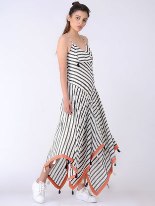 Black-Ivory Block-printed Cotton Silk Dress with Tassels
