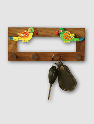 Brown Hand-painted Sheesham Wood Wall Key Holder with Parrot Design (3.5in x 8in)