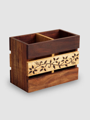 Brown Sheesham Wood Cutlery Holder (L:3.5in, W:6in, H:4.5in)
