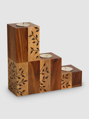 Brown Sheesham Wood and Mango Wood T-Light Holder (Set of 3) (L:3in, 3in, H:8.7in)