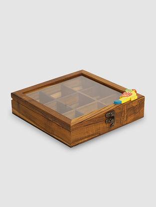 Brown Teak Wood Spice Box (L:8in, W:8in, H:2in)