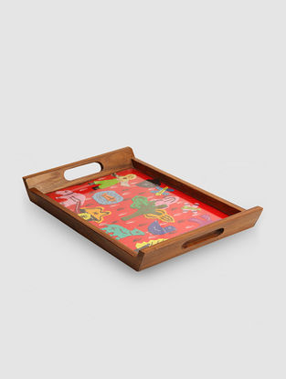 Red-Multicolored Teak Wood Tray with Applique Work (L:13in, W:8.2in, H:1.5in)