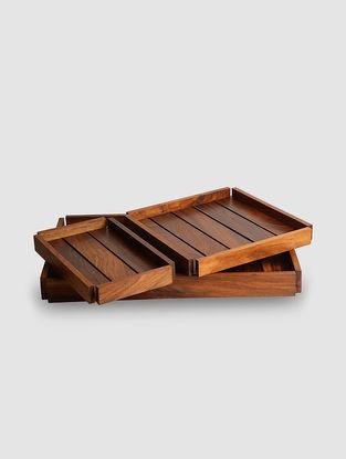 Brown Sheesham Wood Nesting Serving Trays (Set of 3)